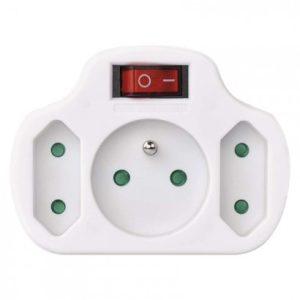 Rozbočovacia zásuvka 2× plochá +1× guľatá s vypínačom